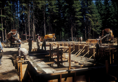 Construction of the Rice family home - later to be the Rice Northwest Rock and Mineral Museum - circa 1950s.