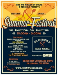 Summer Festival 2014 at the Rice Rock and Mineral Museum poster.