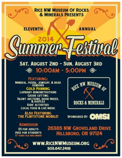 Summer Festival Flyer - Rice Northwest Rock and Mineral Museum.