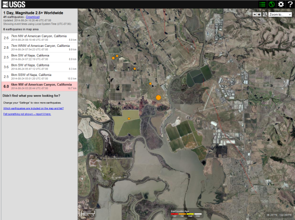 USGS Live map of Earthquakes and aftershocks in the Napa Valley area of California.