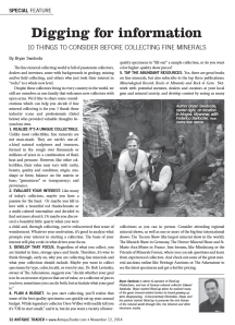 Print version of Antique Trader Magazine Article on Fine Mineral Collection featuring the Rice Northwest Rock and Mineral Museum.