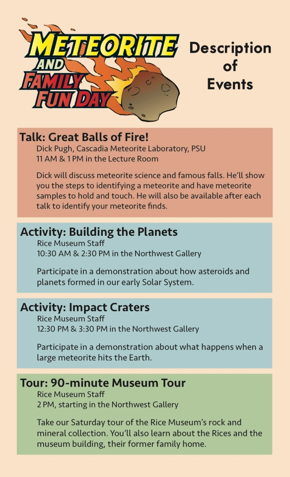 Meteorite Day Schedule Descriptions