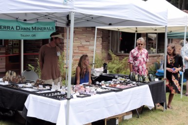 Vendor booth at summer fest with rocks and jewelry.