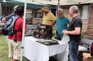 Vendors exhibit of precious minerals.